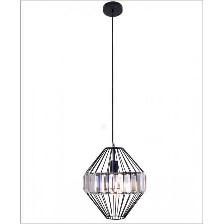 Lampa wisząca metalowa 30 cm Evora plus kryształowe pryzmaty