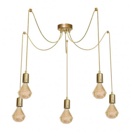 Lampa wisząca PAJĄK złota 5 ramion gold 5XE27 loft