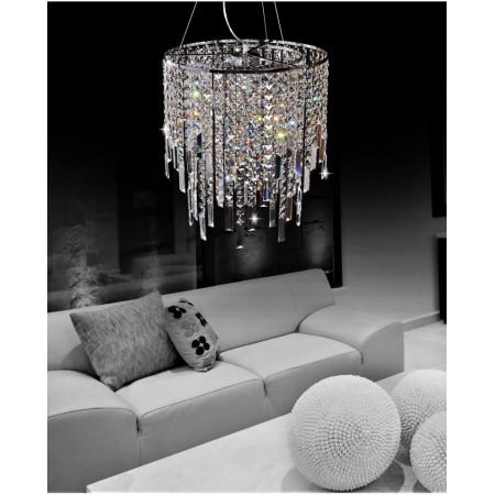 Lampa kryształowa wisząca MADISSON 45 cm kryształ nad stół chrom