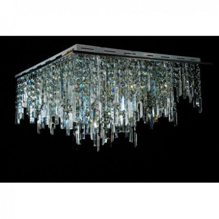 Ogromny żyrandol kryształowy DENVER XL 70 cm plafon kwadrat kryształy