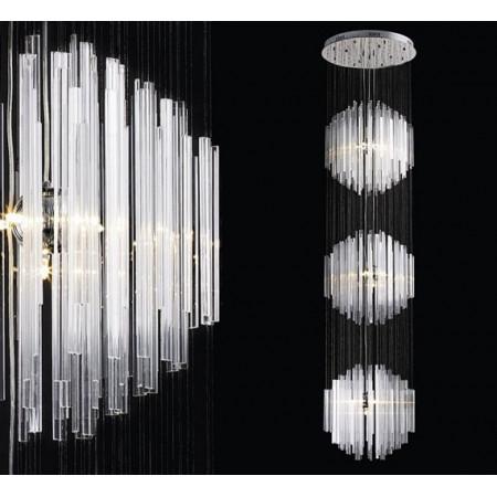 Lampa wisząca 300cm Szklana Glass Metal Szkło salon schody hol
