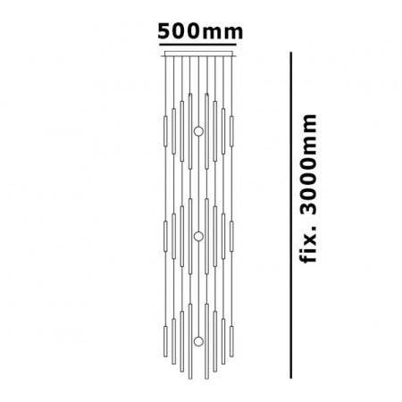 Lampa 300cm Szklana Glass Metal Szkło