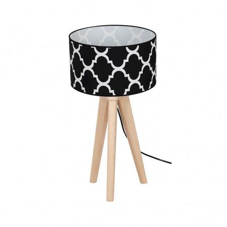 Lampa nocna biurkowa stołowa PIERRE BLACK XXL drewno marokańska koniczyna
