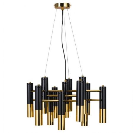 Lampa sufitowa wisząca GOLDEN BLACK DECOR 60 cm żyrandol Art Deco tuby czarno złote design gold