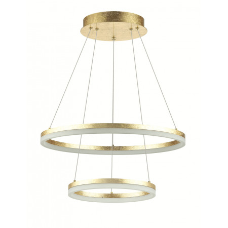 Lampa sufitowa wiszaca 2 ring zloto led 46W Golden II 4000k 50 30 cm
