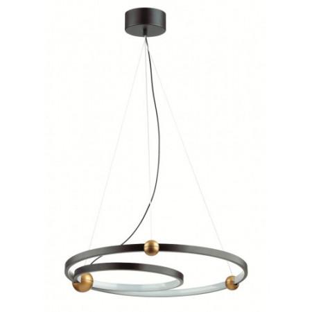 Lampa wisząca ring VISION 50 cm 32W LED 4000k czerń złoto do salonu design