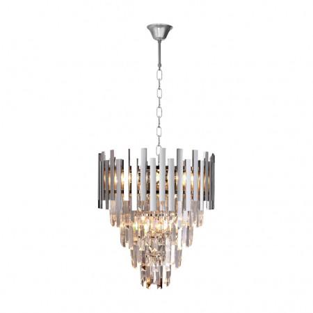 Żyrandol kryształowy wiszący glamour ASPEN II CHROM 9xE14 srebrny metal