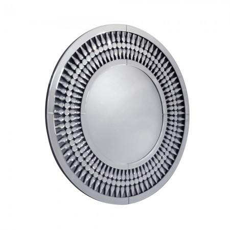 Lustro wiszące okrągłe Marzano 80 cm srebrne ażurowe kryształki salon sypialnia