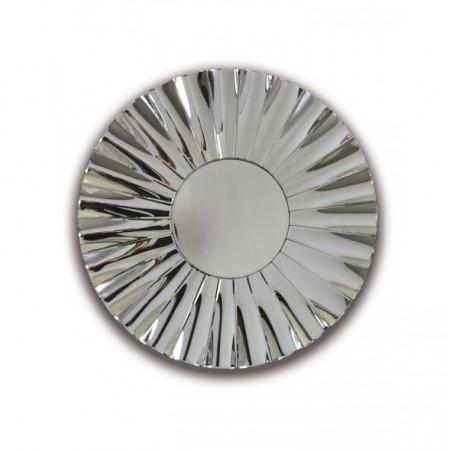 Lustro wiszące okrągłe Aston 90 cm falowana rama sypialnia srebro