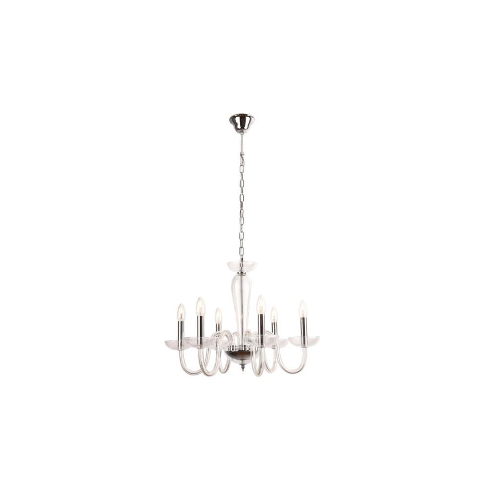 Żyrandol szklany IRIS 60 cm lampa wisząca 6 ramion przezroczysty design
