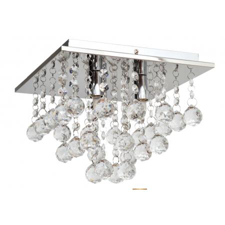 Lampa sufitowa wisząca Mini Lunka kryształ 24 cm kwadrat chrom glamour styl 3x G9