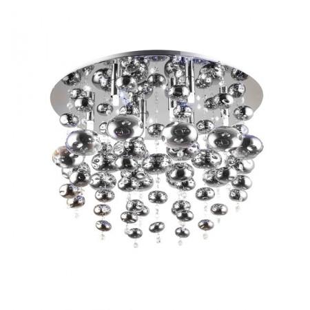 Plafon INFINITY dmuchane szkło 55 cm srebrne kulki chrom