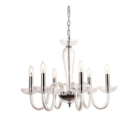 Żyrandol GLAMOUR szklany SIRI 60 cm lampa wisząca 6 ramion przezroczysty design
