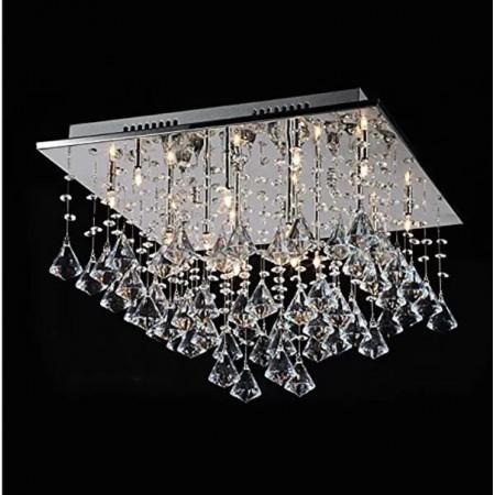 Plafon kryształowy 45 cm wiszący kwadratowy srebrny 16 XG4 chrom sypialnia salon
