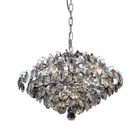 Ekskluzywny żyrandol kryształowy Baronella 50 cm wiszący 5XE14 diamentowe szlify srebro regulowana