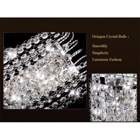 Kinkiet Kryształowy Lampa Ścienna Crystal Chrom 2 źródła Światła Kryształy Ścienny