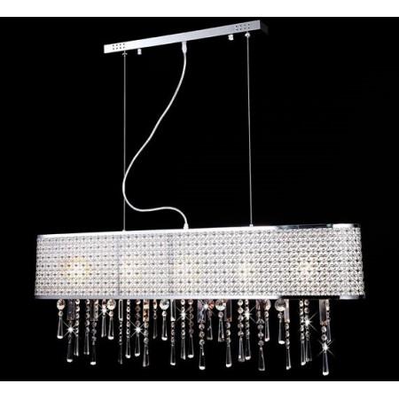 5XL Lampa Kryształowa Zoja nad Stół 100cm Metal Kryształ Lampa Wisząca Regulowana Długość