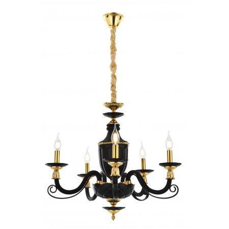 Czarno złoty stylowy żyrandol avonni av-5239-5sy kryształ salon kuchnia jadalnia hotel restauracja