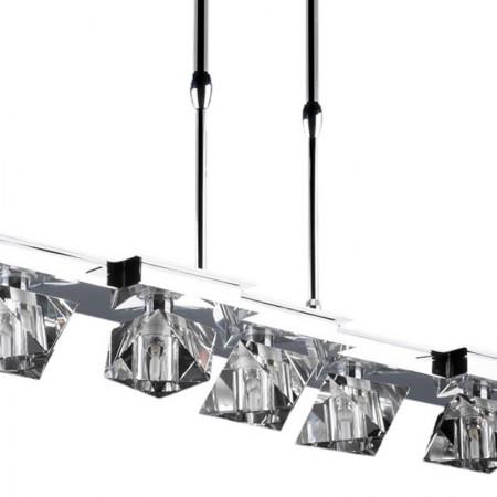 Lampa kryształowa wisząca BAHON 60 cm duże kryształy regulowana chrom ekskluzywna