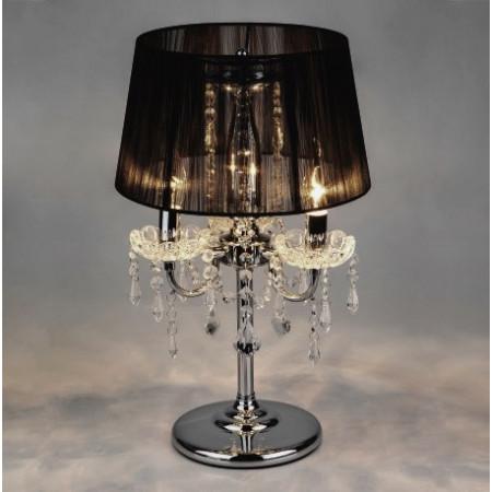 Lampka nocna stołowa BELLA kryształowa XL 50 cm srebrna czarny klosz kryształ glamour