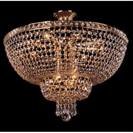 Żyrandol kryształowy złoty GOLDSKI 60 cm gold Art Deco design do salonu