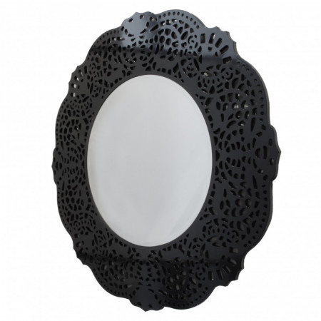 Lustro wiszące dekoracyjne ORSINI okrągłe 110 cm ażurowa czarna rama