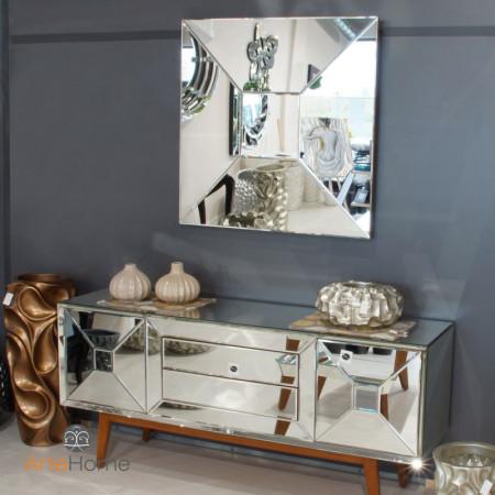 Lustro wiszące dekoracyjne ALCAMO kwadratowe 100x100 cm rama lustrzana