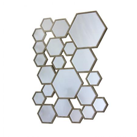 Lustro wiszące dekoracyjne COLETTI prostokątne 79x59 cm geometryczna rama stare złoto