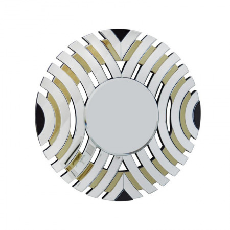 Lustro wiszące dekoracyjne ELISA CHAMPAGNE okrągłe 90 cm zdobienia retro nowoczesna rama ozdobna