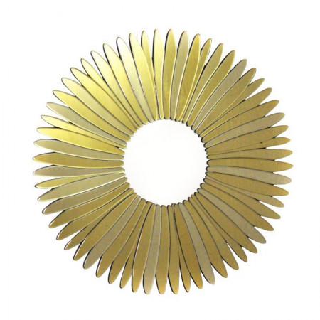 Lustro wiszące dekoracyjne STELLA CHAMPAGNE okrągłe 80 cm rama art deco ozdobna szampańskie złoto