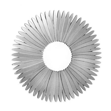 Lustro wiszące dekoracyjne STELLA SILVER okrągłe 80 cm rama art deco ozdobna srebrna