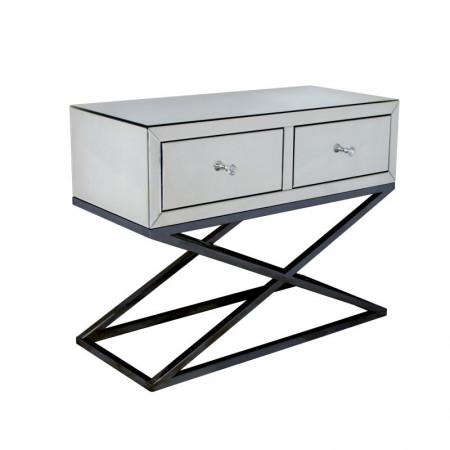 Konsola lustrzana z szufladami MEROSI szer. 100 cm stolik lustrzany glamour