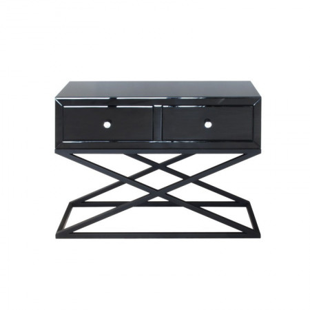 Konsola z szufladami czarna połysk MEROSI szer. 100 cm glamour