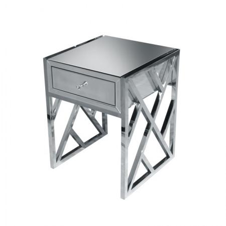 Stolik nocny z szufladami lustrzany TARANTO szer. 50 cm szafka nocna z szufladami lustrzana