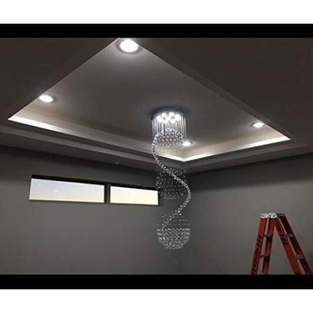 Żyrandol Kryształowy 180cm Pablo 3 Kule LED Lampa nad Schody do Salonu Hollu