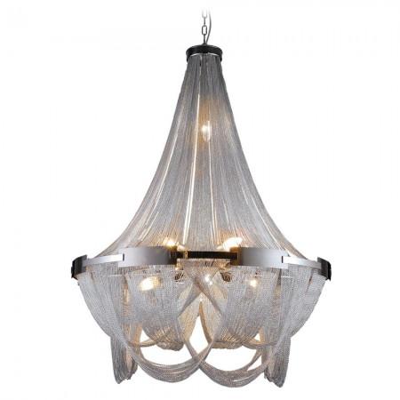 Żyrandol lampa sufitowa wisząca ROMA łańcuszek srebrna