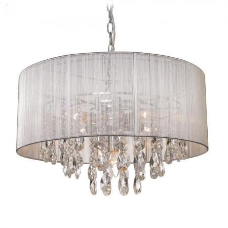 Lampa sufitowa wisząca SINGAPORE 50 cm kryształ srebrna