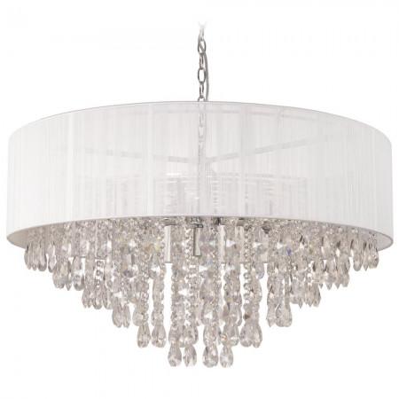 Lampa sufitowa wisząca SINGAPORE 80 cm kryształ biała 3XXL duża średnica