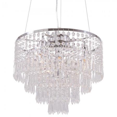 Żyrandol lampa sufitowa wisząca PORTO kryształ srebrna