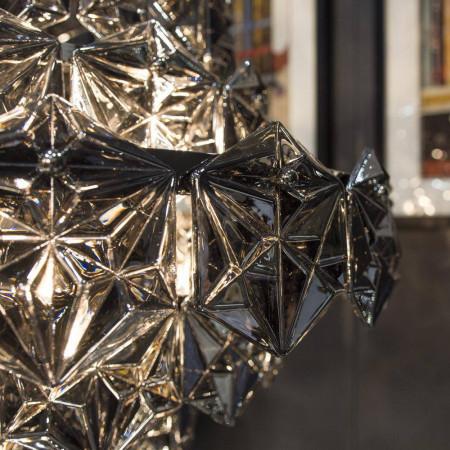 Lampa sufitowa wisząca BRISBANE czarna srebrna szklana niklowana