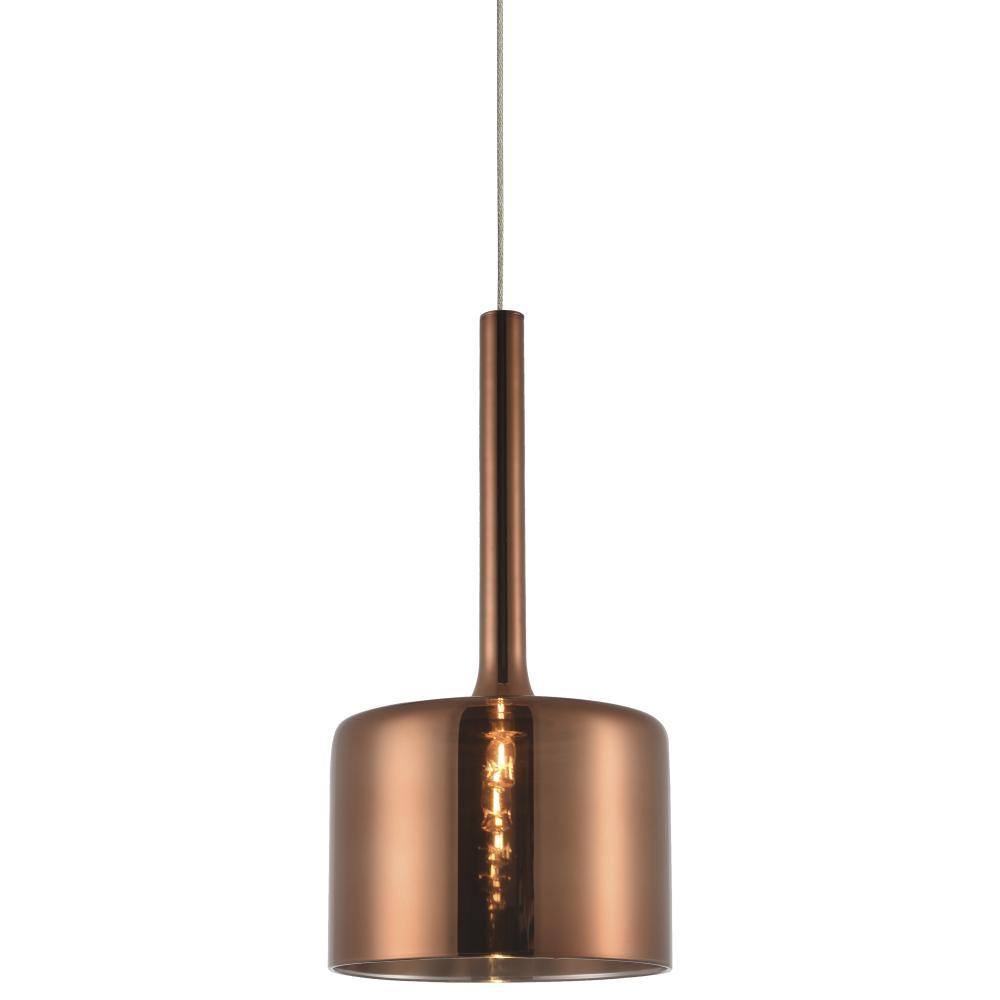 Lampa sufitowa wisząca COPENHAGEN metal szkło miedziana pojedyncza