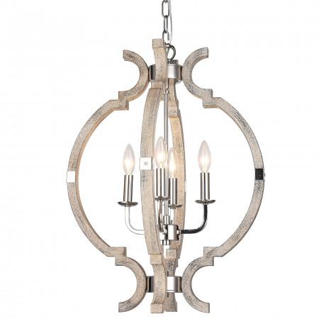 Żyrandol lampa sufitowa wisząca PORTLAND drewno nikiel