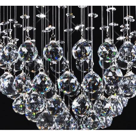 Żyrandol kryształowy wiszący Pelle okrągły Kula 30cm Plafon Kryształ 3x G9