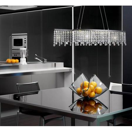 Czarny Żyrandol Kryształowy Wetlan 80cm nad Stół Regulowany Metal LED Ledowy