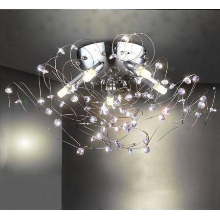 Awangardowy Chromowany Żyrandol 60cm Kryształy Chrom 5x G9 Design Pokręcone Ramiona