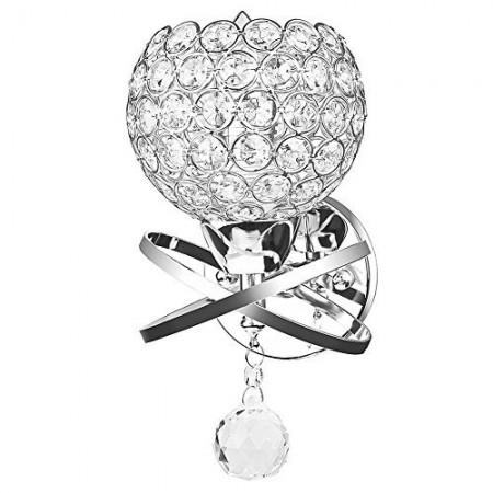 Kinkiet Kryształowy Kula Ball Okrągły Żarówka Chrom Kryształowa Lampa Ścienna