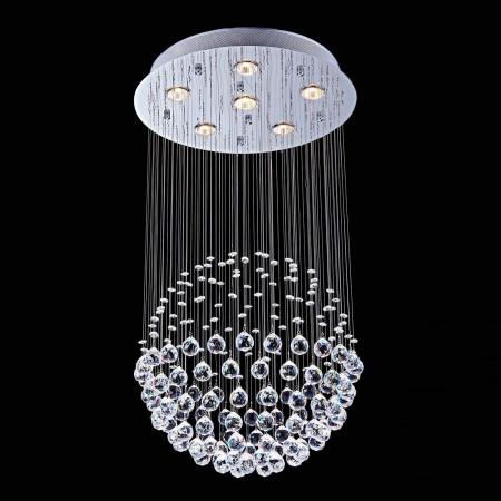 Ogromna Lampa Kryształowa XXL Moler 45 80cm Kula Ball Chrom Żyrandol Okrągły Kryształowy 6x GU10