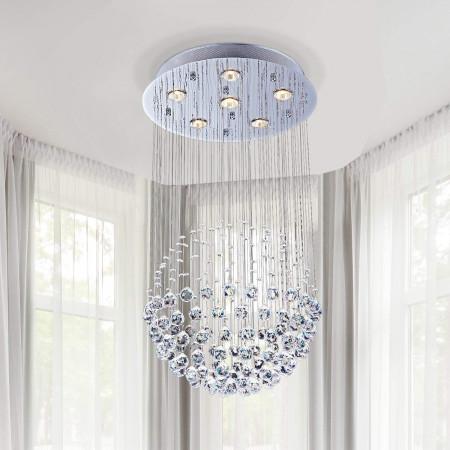 Żyrandol kryształowy wiszący NODI 45 cm led kryształy do salonu 5 x G9 PROMOCJA