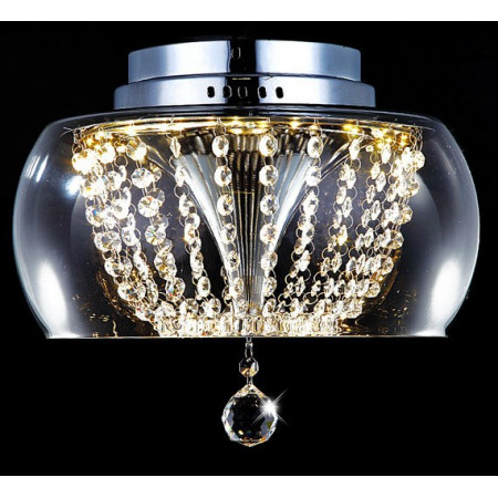 Lampa Kryształowa Atera LED Półkula Szkło Kryształy 35cm