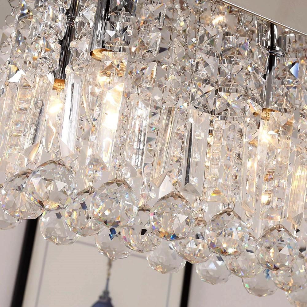 Lampa kryształowa kwadrat WESLAN 40/65 cm prawdziwy kryształ CHROM